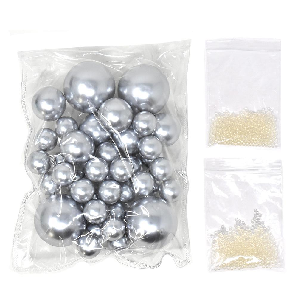 Vase Filler Pearls with Aqua Jelly Beads, Silver, 5/16-Pound