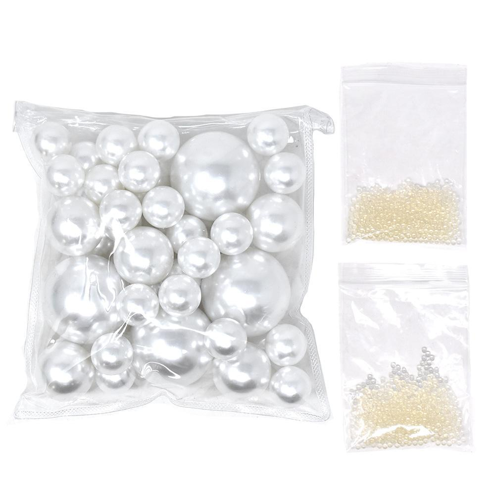 Vase Filler Pearls with Aqua Jelly Beads, White, 5/16-Pound