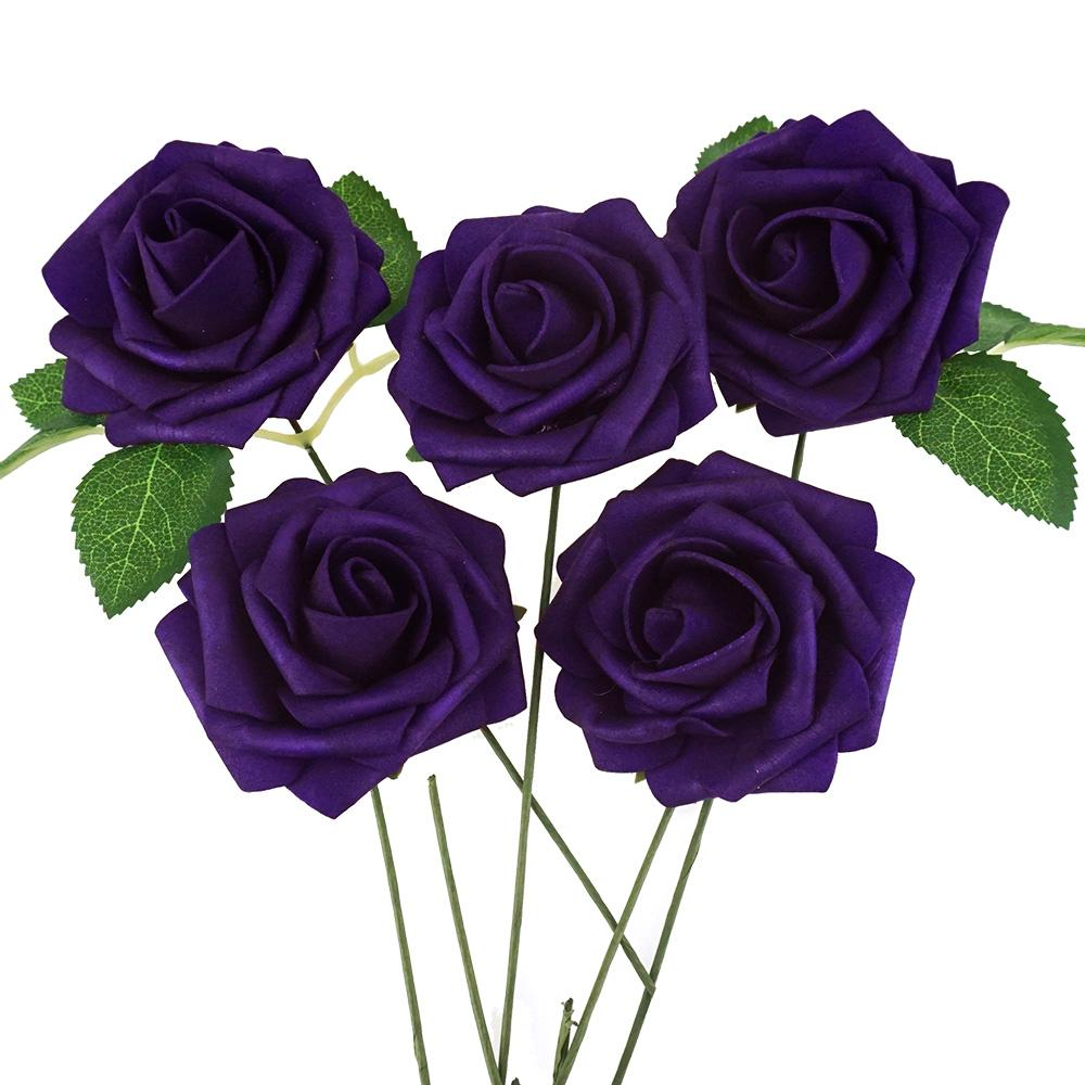 Latex Foam Artificial Rose Stems, Purple, 9-1/4-Inch, 25-Count