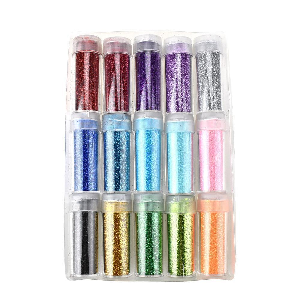 Sparkling Craft Glitter, Assorted Colors, 2-1/2-Inch, 15-Piece