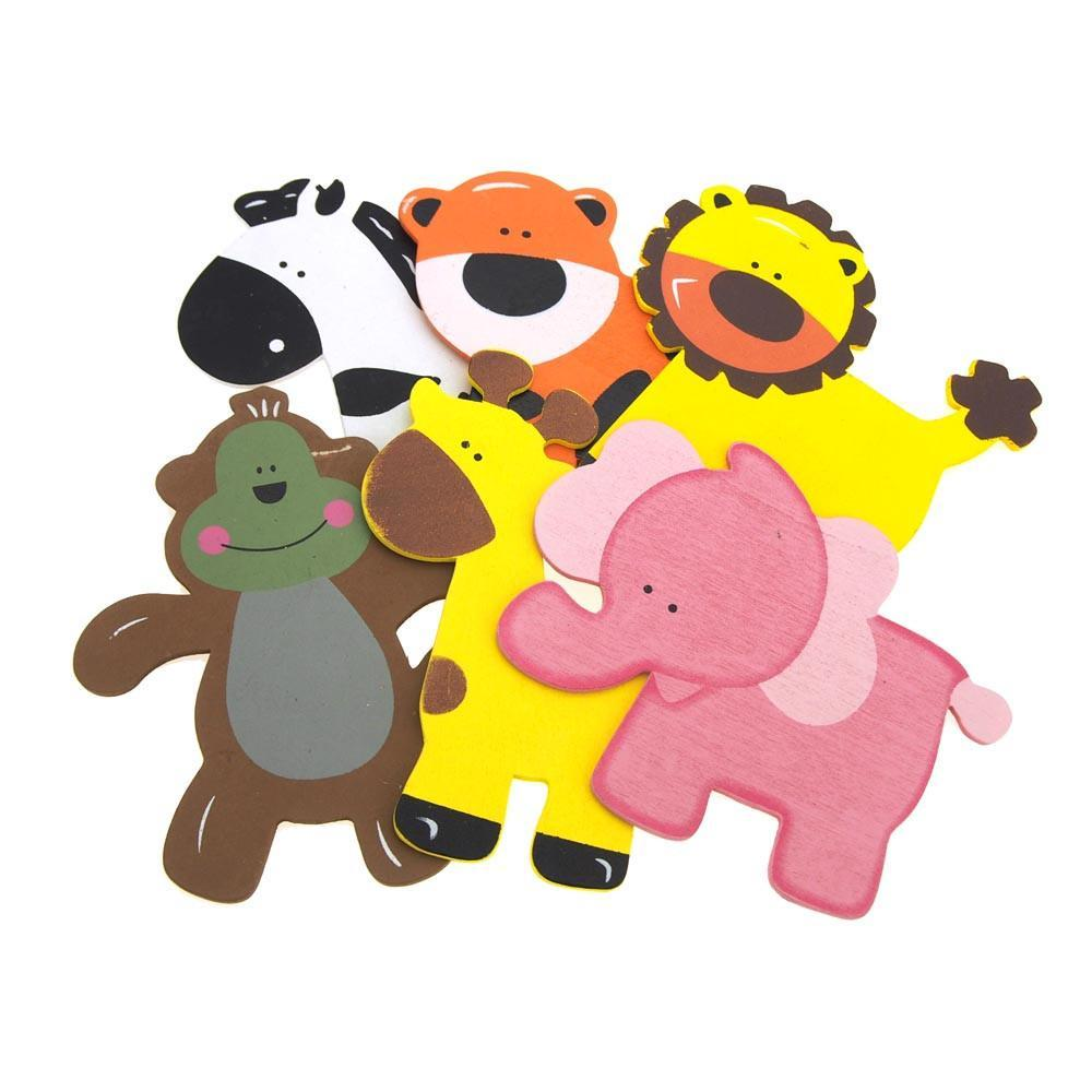 Assorted Wooden Animals Baby Favors, 5-Inch, 6-piece With Pink Elephant