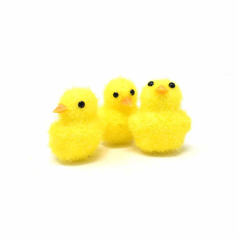 Fuzzy Mini Chick, Yellow, 1-1/2-Inch, 3-Piece