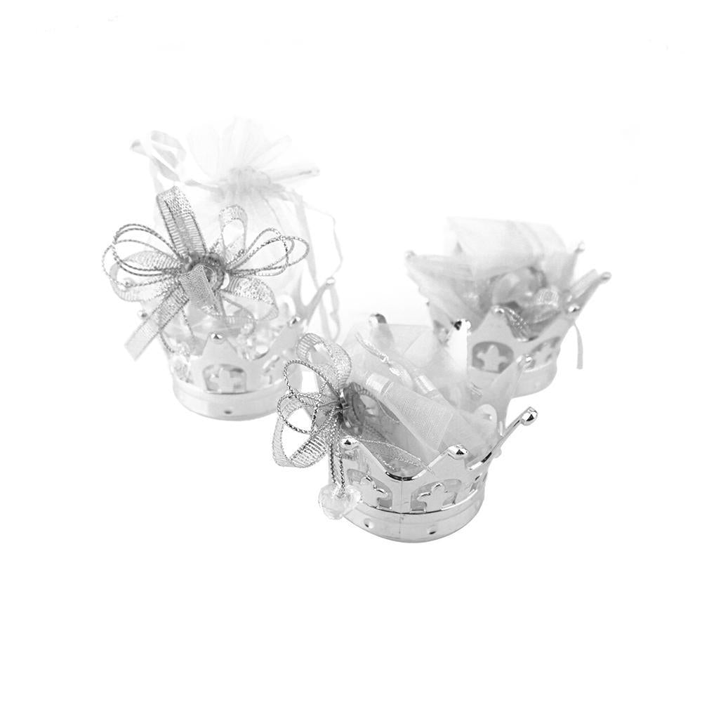 Mini Royal Crown with Rhinestone Organza Bags, 4-1/2-Inch, 6-Count, Silver