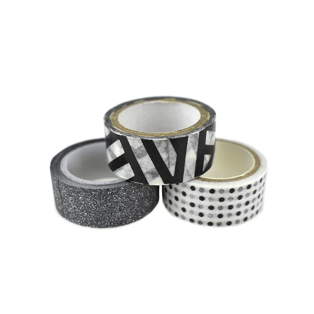 Arts & Craft Design and Glitter Tape, 3-Piece, Black