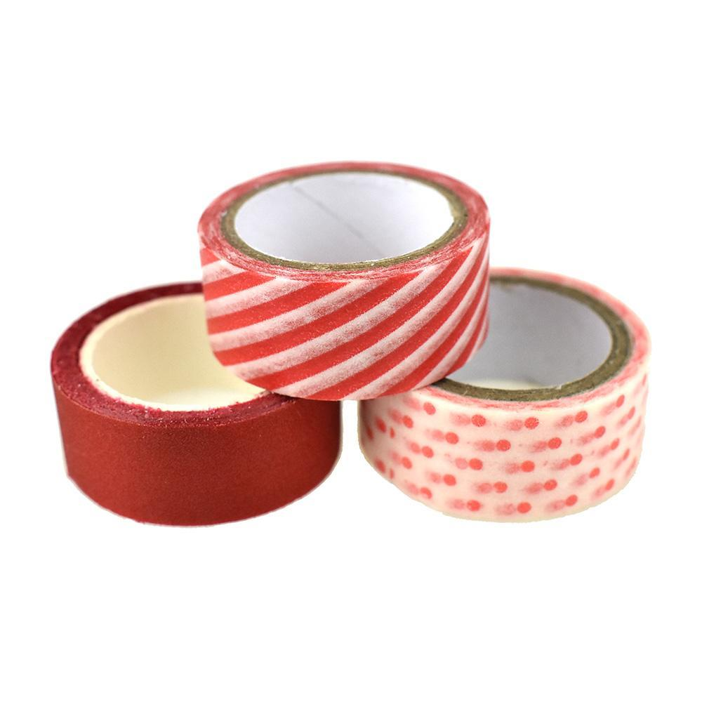 Arts & Craft Design and Glitter Tape, 3-Piece, Red