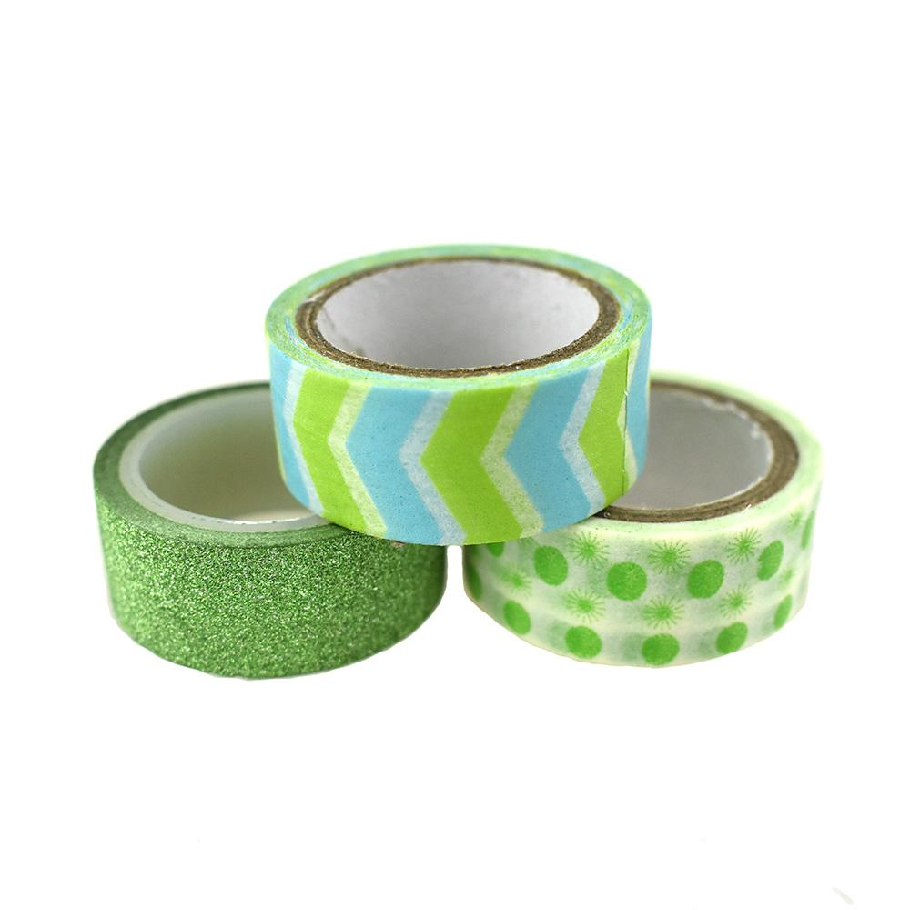 Arts & Craft Design and Glitter Tape, 3-Piece, Green