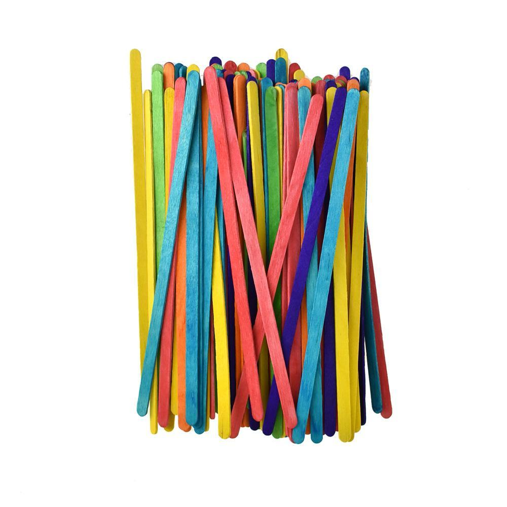 Long Wooden Craft Stir Sticks, Assorted Color, 7-1/2-Inch, 100-Piece