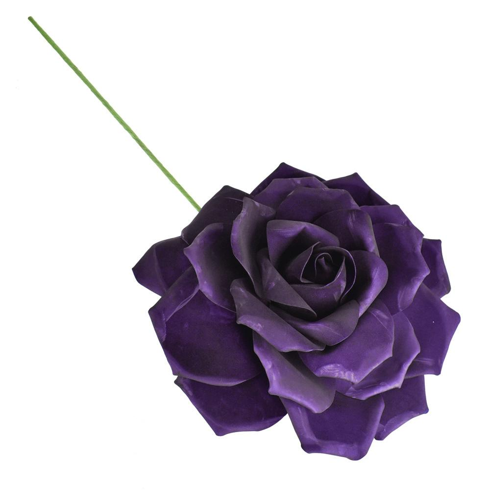 Large Rose Foam Flower with Stem, Eggplant, 15-1/2-Inch