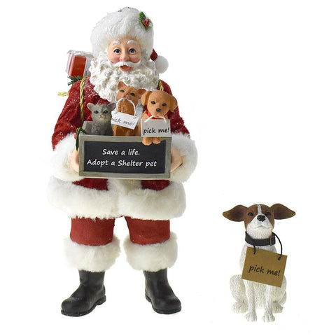 Adopt A Pet Santa Claus and Dog, 11-1/2-Inch, 2-Piece
