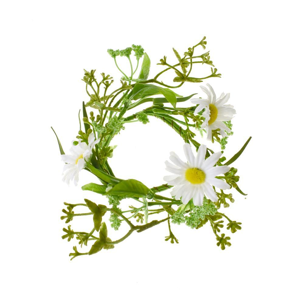 White Daisy and Greenery Candle Ring, 2-1/2-Inch