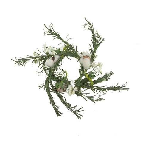 Artificial Old Thyme Daisy Cotton Floral Ring, 19-Inch