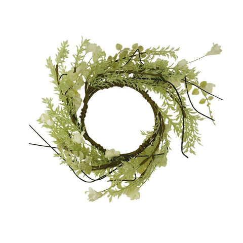 Artificial Lobelia Candle Ring, Green/White, 4-1/2-Inch