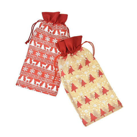 Burlap Nordic Christmas Print Wine Bottle Bag, 13-Inch, 2-Piece