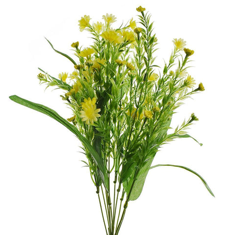 Artificial Daisy Bush Spray, Yellow, 19-Inch