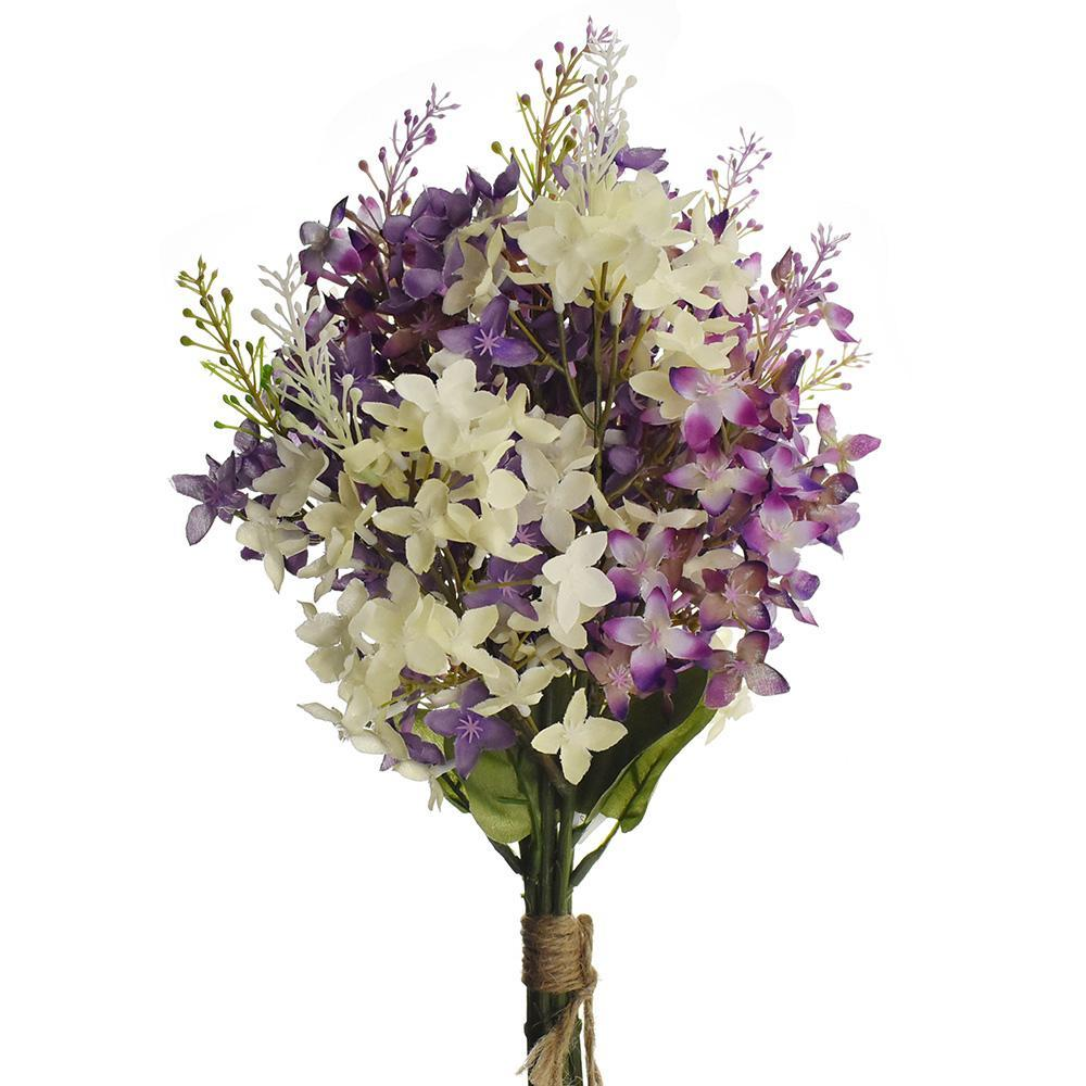 Artificial Lilac Bouquet, Lilac/Cream, 13-Inch
