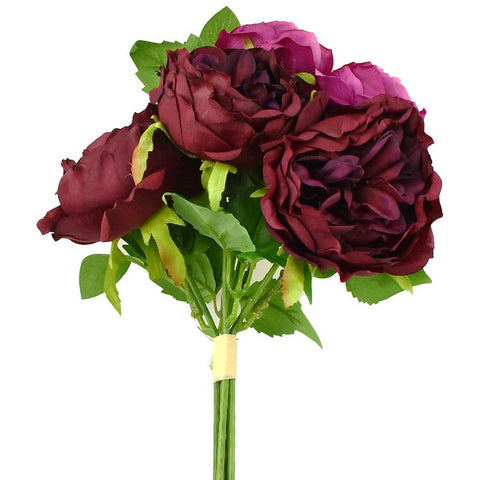 Artificial Peony and Sedum Bouquet, Wine, 11-Inch