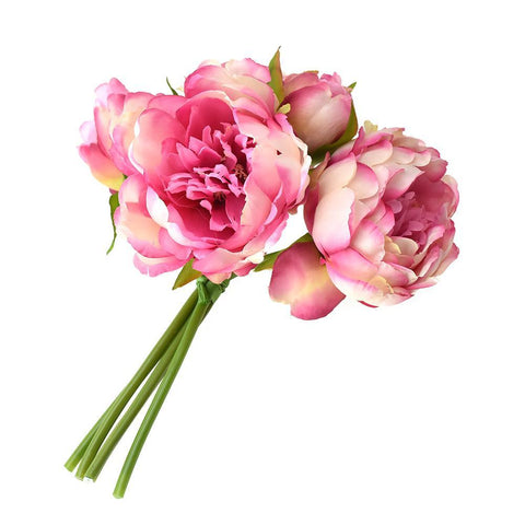 Artificial Peony Bouquet, Hot Pink, 9-1/2-Inch, 5-Piece