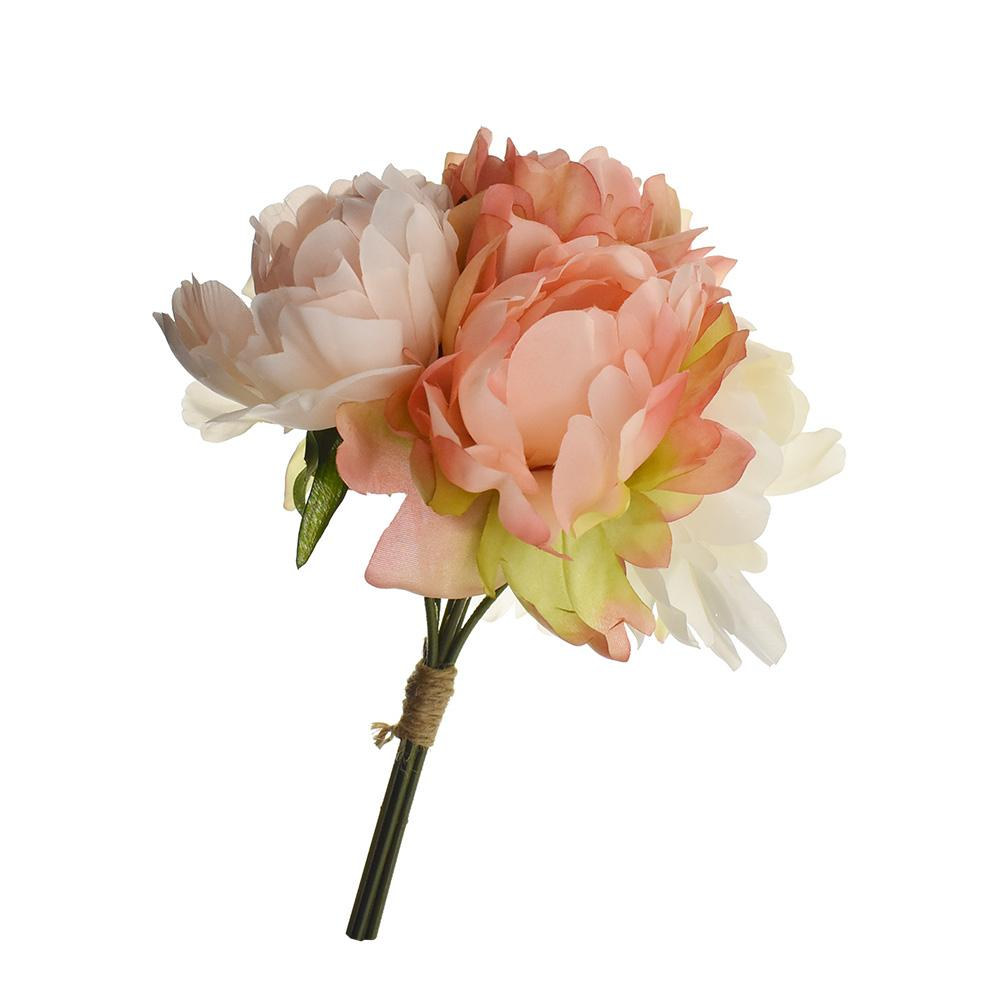 Artificial Peony Bouquet, Coral/Blush, 13-Inch