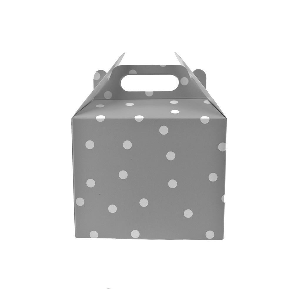 Polka Dot Cardboard Favor Box, 5-1/4-inch, 4-Count, Silver