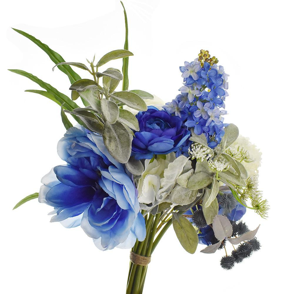 Artificial Rose, Hydrangea, and Peony Bouquet, Blue/White, 15-Inch