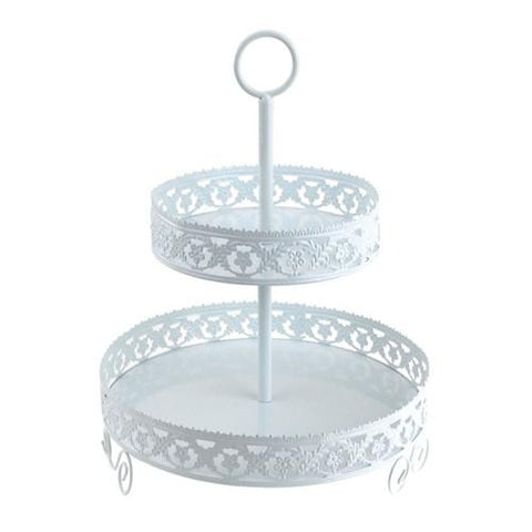 Metal Round Eyelit Cupcake Holder, 2 Tier, 12-Inch