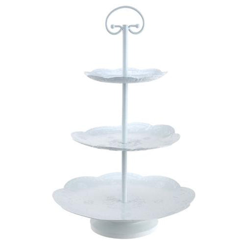 Engraved Fruit Basket Metal Cupcake Holder, 3 Tier, 17-Inch