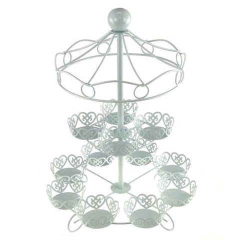 Metal Carousel Cupcake Holder, 2 Tier, 16-inch, White
