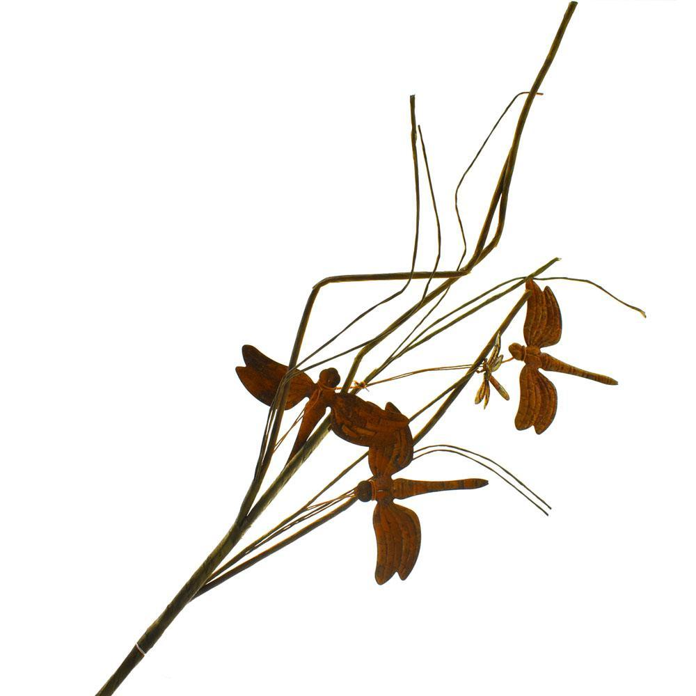 Rustic Metal Dragonfly Floral Spray Pick, 21-Inch