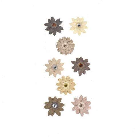 3D Handmade Flowers Almond Mocha Self-Adhesive, 8-Piece