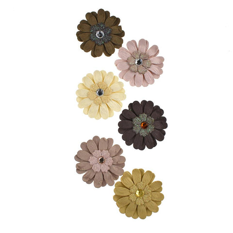 Adhesive Paper Craft Glitter Flowers, 1-1/2-Inch, 6-Piece, Almond Mocha