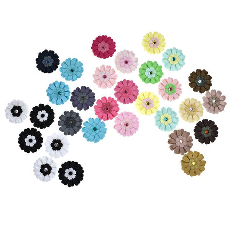 Adhesive Paper Craft Glitter Flowers, 1-1/2-Inch, 6-Piece