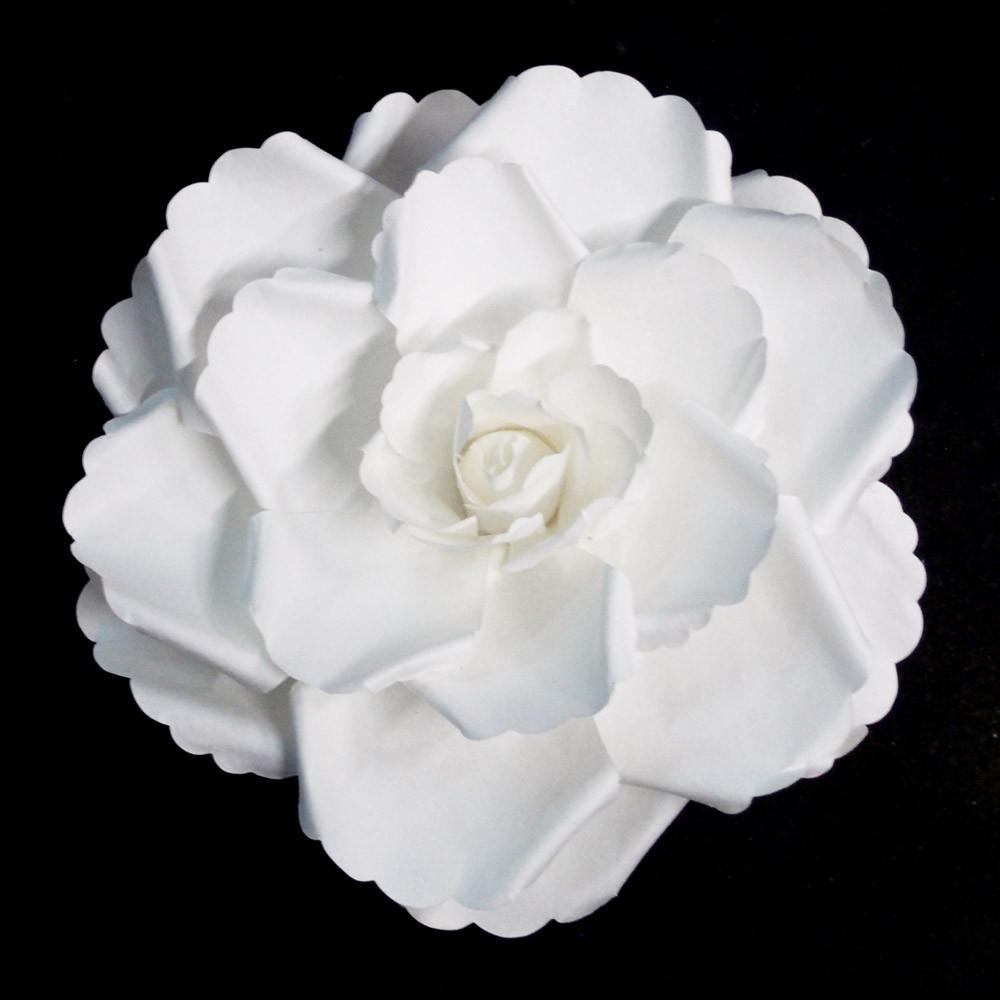Rose Large Paper Flower, White, 12-Inch