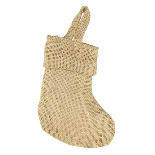 Natural Plain Burlap Christmas Stockings, 6-Inch, 12-Piece
