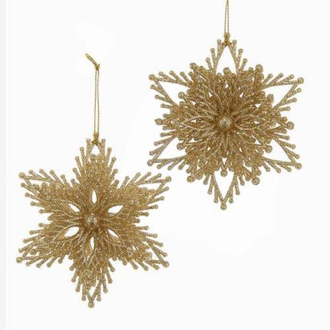 Acrylic Glitter Star Ornaments, Gold, 4-Inch, 2-Piece