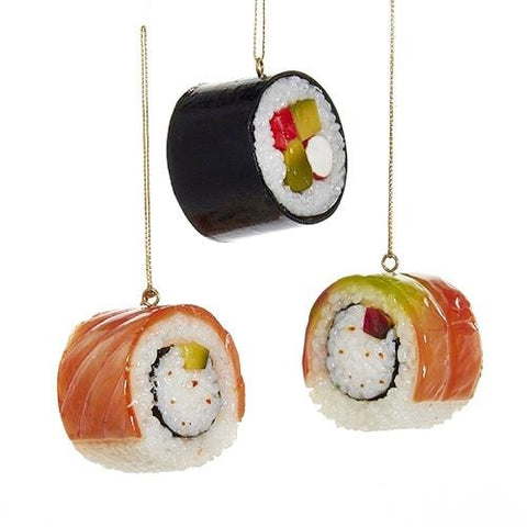 Plastic Sushi Roll Christmas Tree Ornaments, 1-3/4-Inch, 3-Piece