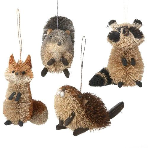 Buri Woodland Animal Ornaments, Natural, 3-1/2-Inch, 4-Piece