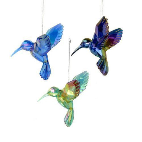 Acrylic Hummingbird Christmas Tree Ornaments, Blue, 4-Inch, 3-Piece