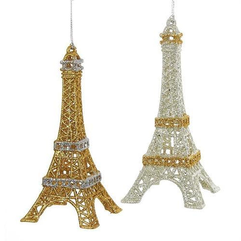 Acrylic Glittered Eiffel Tower Ornament, Metallic Gold/Metallic Silver, 5-3/4-Inch, 2-Piece