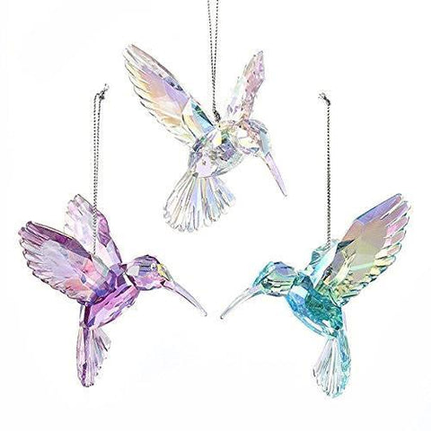 Acrylic Hummingbird Christmas Tree Ornaments, Pink/Iridescent, 3-Inch, 3-Piece