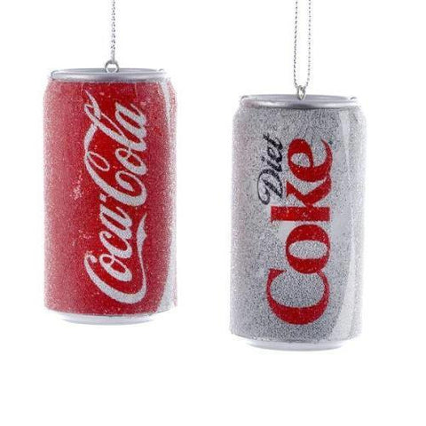 Coca-Cola Glittered Can Mold Ornaments, 3-Inch, 2-Piece