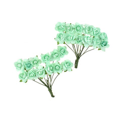 Mini Paper Craft Rose Branch, 3-Inch, 12-Count