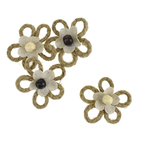 Adhesive Twine and Fabric with Bead Flower, 2-Inch, 4-Piece