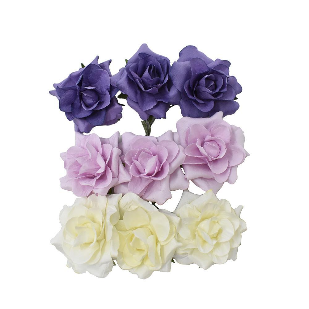 Paper Rose Flower Embellishments, Multicolored, 1-1/2-Inch, 9-Piece