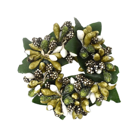Decorative Green Berry Candle Ring for 1-Inch Candles, 2-1/2-Inch