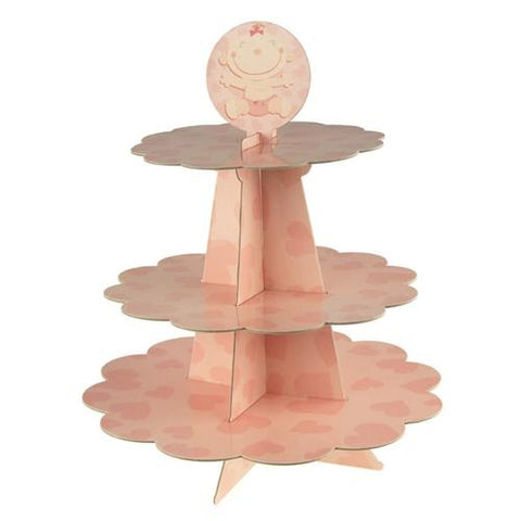 Baby Girl Heart Cardboard Cupcake Stand, Pink, 3-Tier, 14-Inch