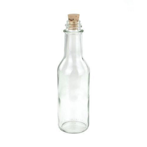 Glass Bottle Corked Jar, 6-1/2-Inch, Round