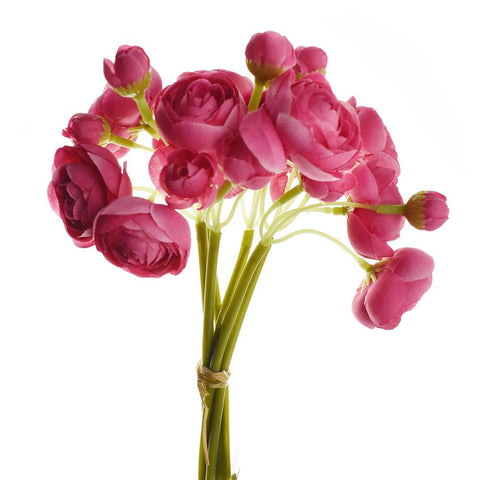 Artificial Ranunculus Spray, Hot Pink, 10-Inch