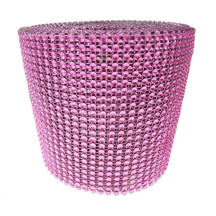 Rhinestone Diamond Wrap Ribbon, 4-3/4-Inch, 10 Yards, Fuchsia