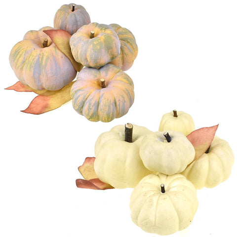 Artificial Bagged Pumpkins Fall Decor, Assorted, 6-Piece