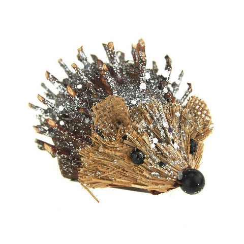 Acorn Spiky Hedgehog with Glitter Holiday Decoration, 4-Inch